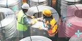 Two technicians handling massive coils of fiber optic cables.